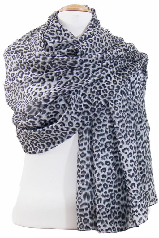 étole en soie noir léopard 2