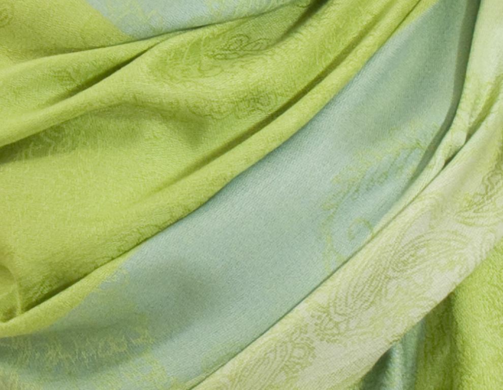 etole pashmina vert anis rayures 3