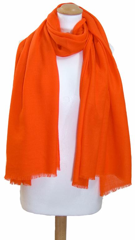 étole orange laine fine 3