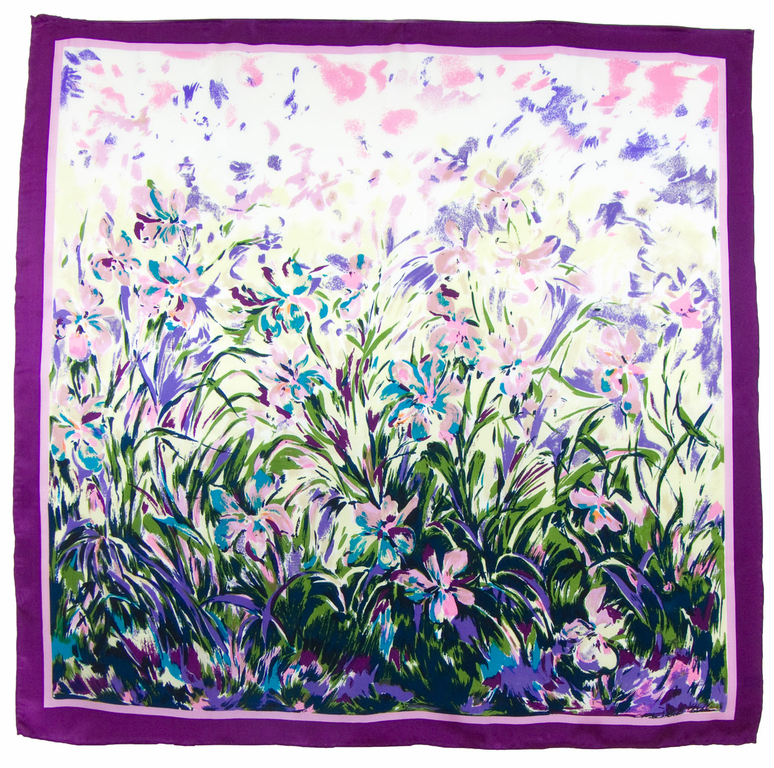 carré de soie violet fleurs 1