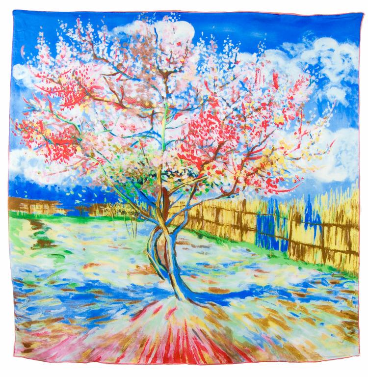 carré en soie Le Pêcher en fleurs bleu Van gogh 1