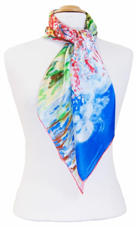 carré en soie Le Pêcher en fleurs bleu Van gogh 4