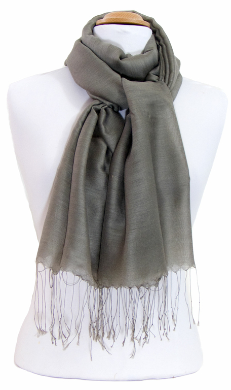 étole foulard taupe soie fine Alex 3