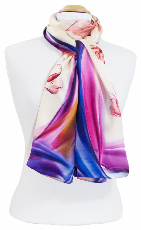 foulard écharpe soie rose tulipes 4