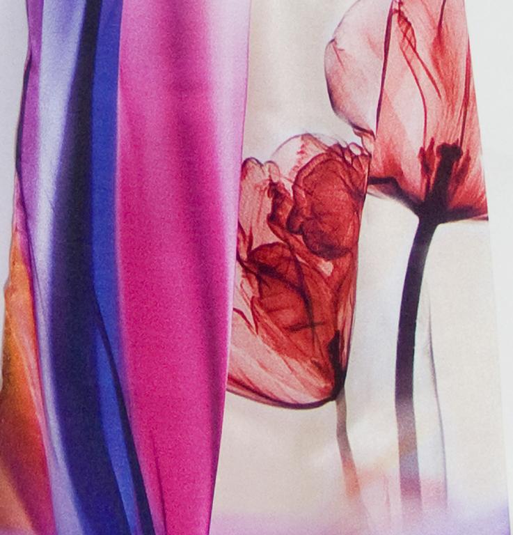 foulard écharpe soie rose tulipes 3