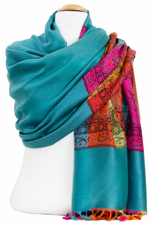 étole vert émeraude pashmina motifs 2