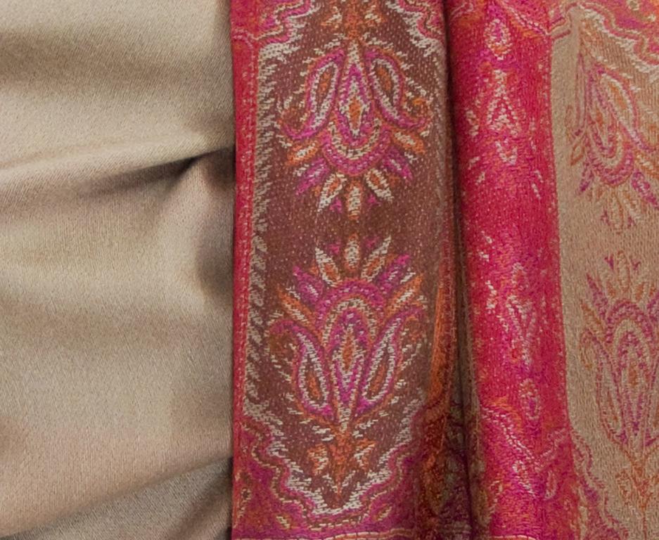 étole beige pashmina motifs 3