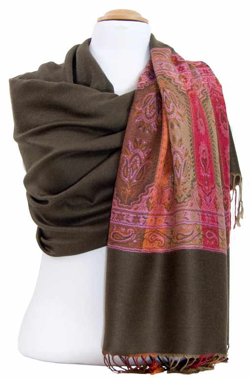 étole brun kaki pashmina motifs 2