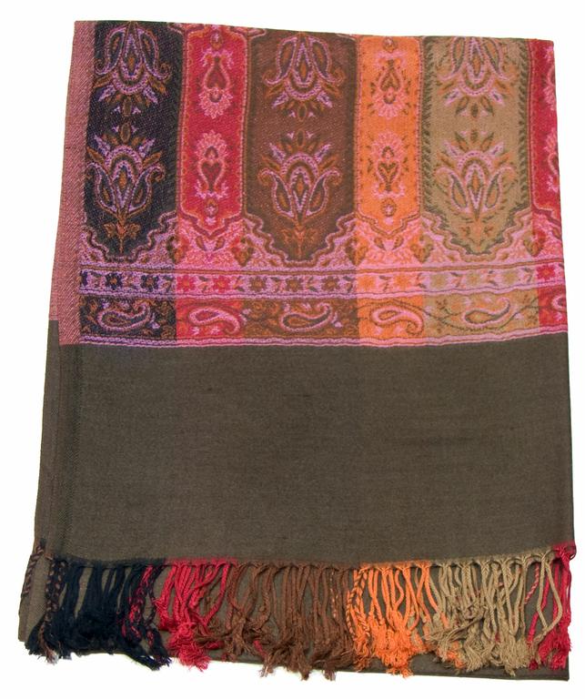étole brun kaki pashmina motifs 1