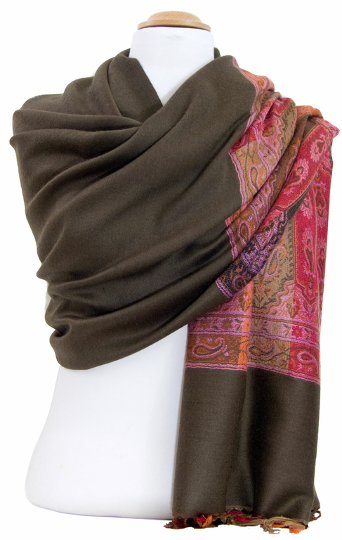 étole brun kaki pashmina motifs 4