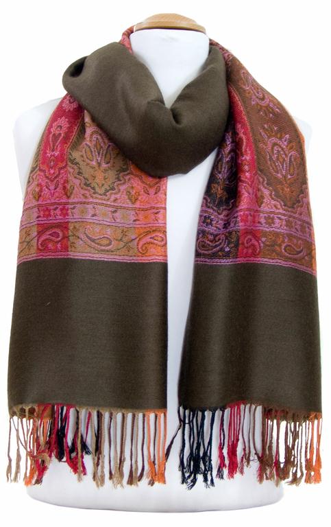 étole brun kaki pashmina motifs 5