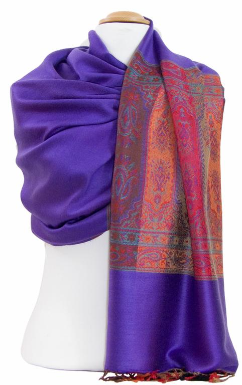 étole violet  pashmina motifs 2
