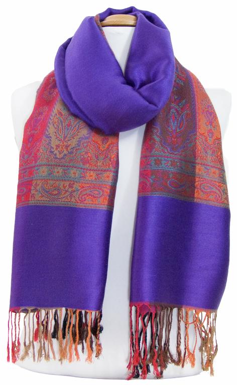 étole violet  pashmina motifs 5