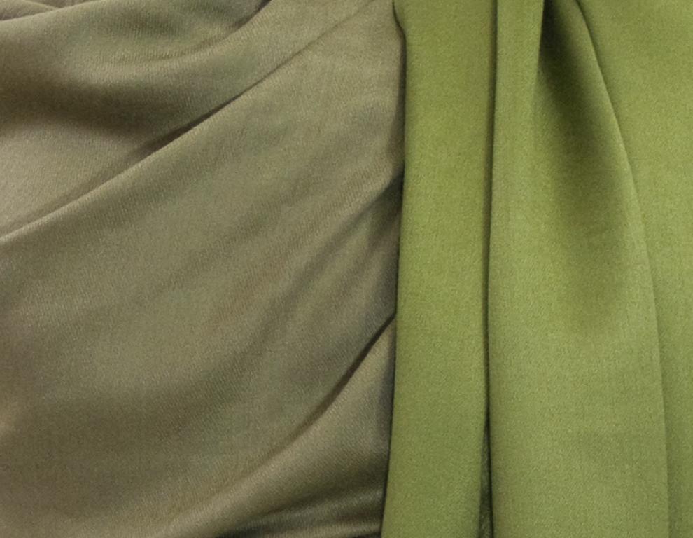 étole vert olive kaki pashmina réversible 5