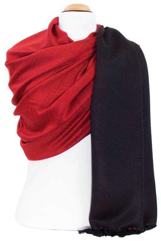 étole pashmina noir rouge réversible 2