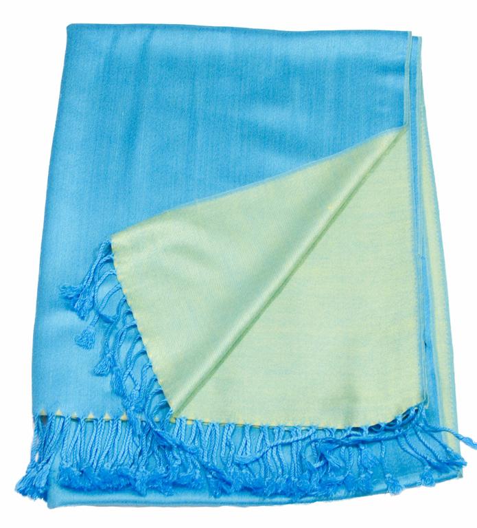 Etole bleu turquoise vert  pashmina réversible 5