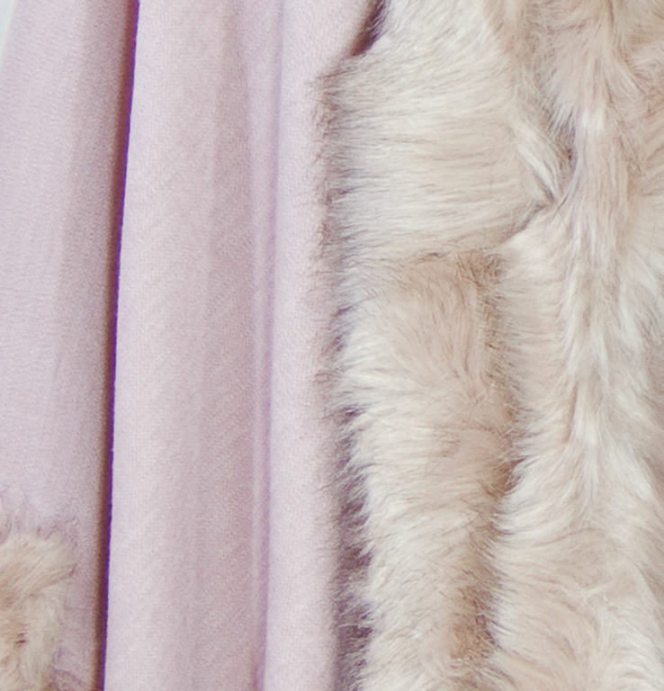 chale rose grisé fausse fourrure 4
