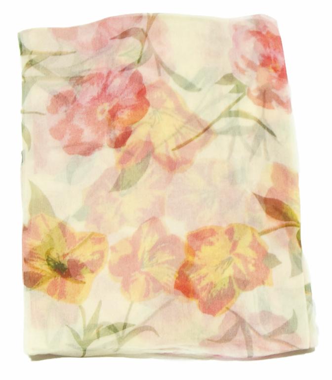 foulard mousseline de soie jaune fleurs 1