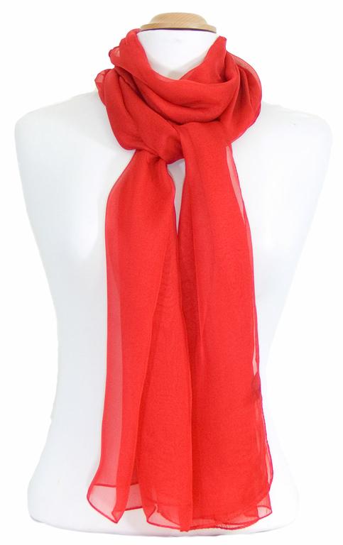 étole femme rouge mousseline de soie