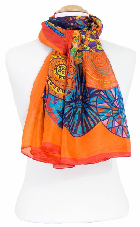 étole femme soie naturelle orange roséces