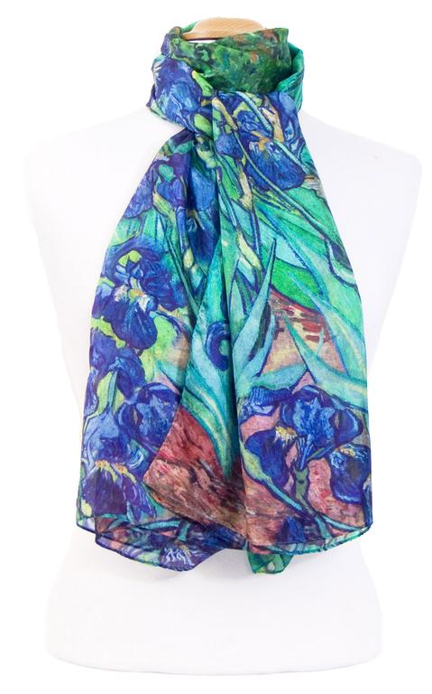 étole bleu soie fleurie Iris