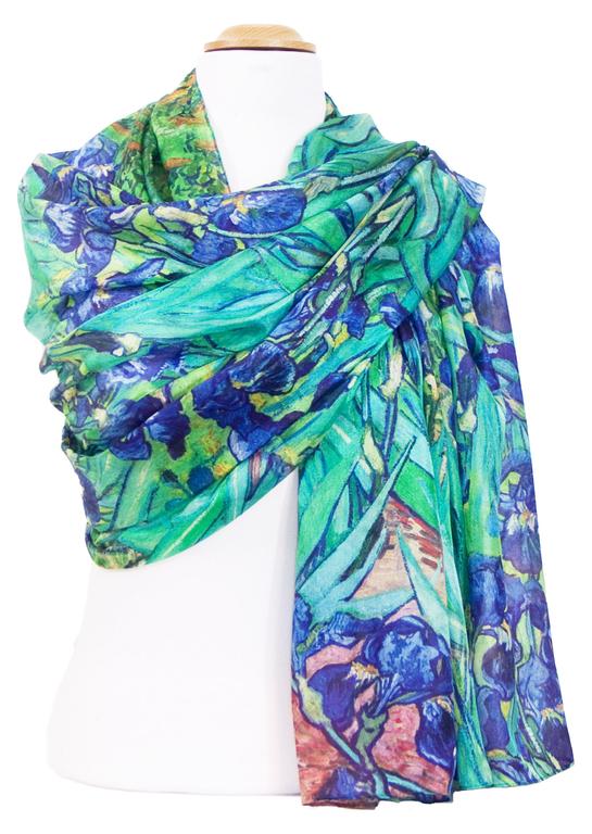 étole soie bleu fleurs iris