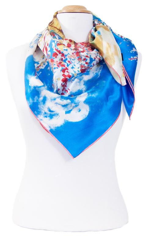 foulard femme en soie carré tableau le pêcher en fleurs Van Gogh