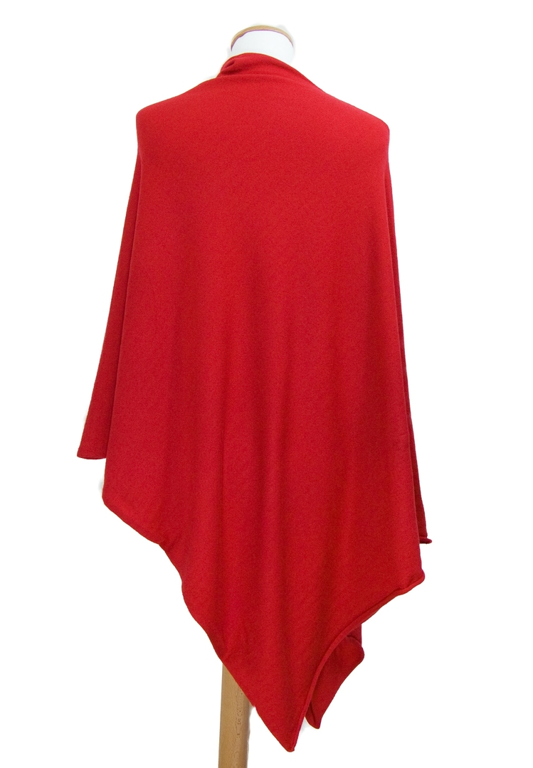 Poncho maille tricot rouge 2-min