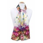 foulard en soie écru flower 2