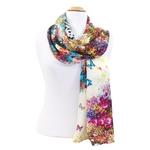 foulard en soie écru flower 3
