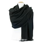 étole en cachemire et laine noir 2-min