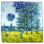 carré de soie sous les peupliers effet du soleil Claude Monet 1-min