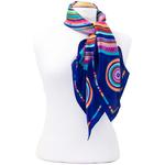 foulard carré en soie bleu cercle