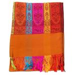 étole orange brique pashmina motifs 1