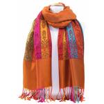 étole orange brique pashmina motifs 3