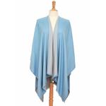 poncho bleu gris réversible 1
