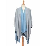 poncho bleu gris réversible 4