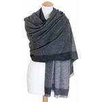 Etole cachemire laine gris carreaux 2