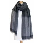 Etole cachemire laine gris carreaux 3