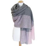 Etole cachemire laine rose carreaux 2