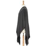 poncho noir gris réversible 6