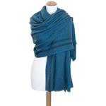 étole turquoise laine fine rayures