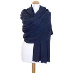 étole bleu marine laine fine rayures