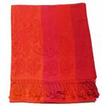 étole rouge orange pashmina motifs rayures 1