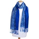 étole pashmina bleu vif motifs 2