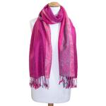 étole pashmina rose fushia motifs 2