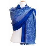 étole pashmina bleu vif motifs 5