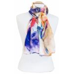 foulard écharpe soie bleu pintina  3