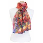 foulard écharpe soie rouge papillons 4