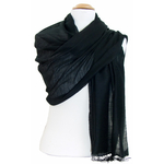 étole foulard noir soie fine Alex  2